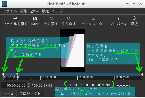 Shotcut画像、範囲指定や再生は「キーボード」からできます